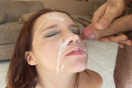 Two facial cumshots on Belle Bond