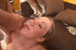 Cute Blonde Teen Bukkake with Cum in Her Nostril